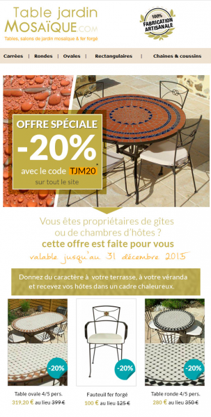 e-mailing site e-commerce mobillier de jardin